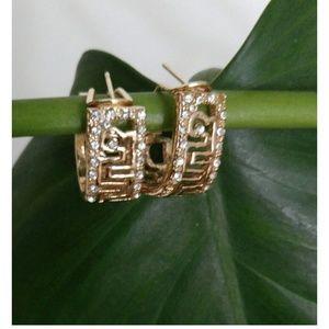 Gold Tone Greek Key Earrings With CZ